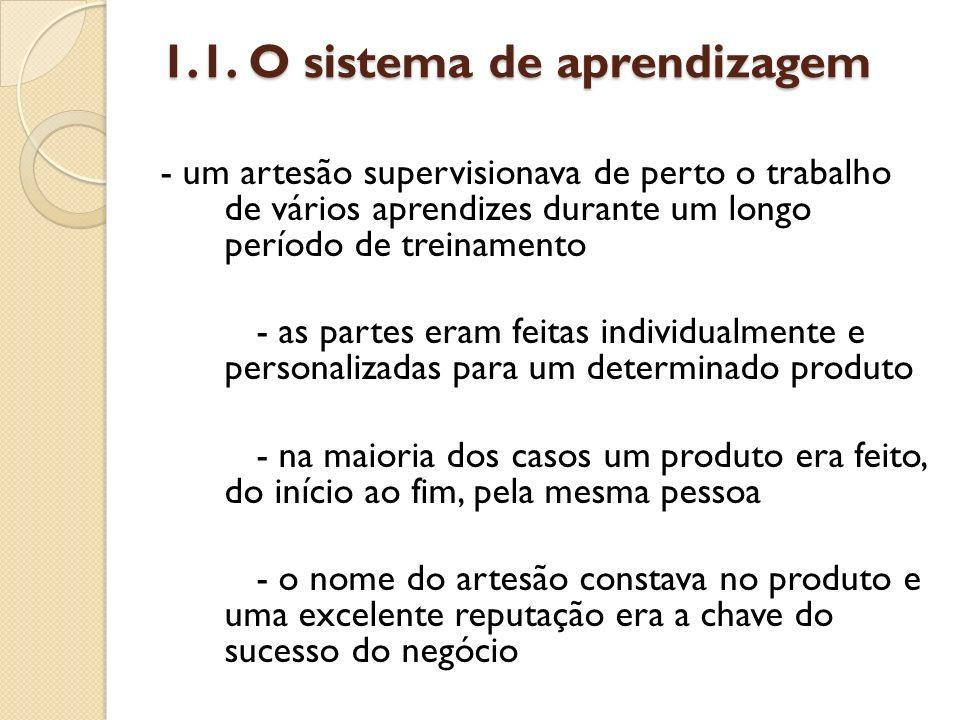 1.1. O sistema de aprendizagem - um artesão supervisionava de perto o trabalho de vários aprendizes durante um longo período de treinamento - as parte