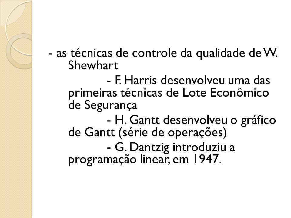 - as técnicas de controle da qualidade de W. Shewhart - F. Harris desenvolveu uma das primeiras técnicas de Lote Econômico de Segurança - H. Gantt des