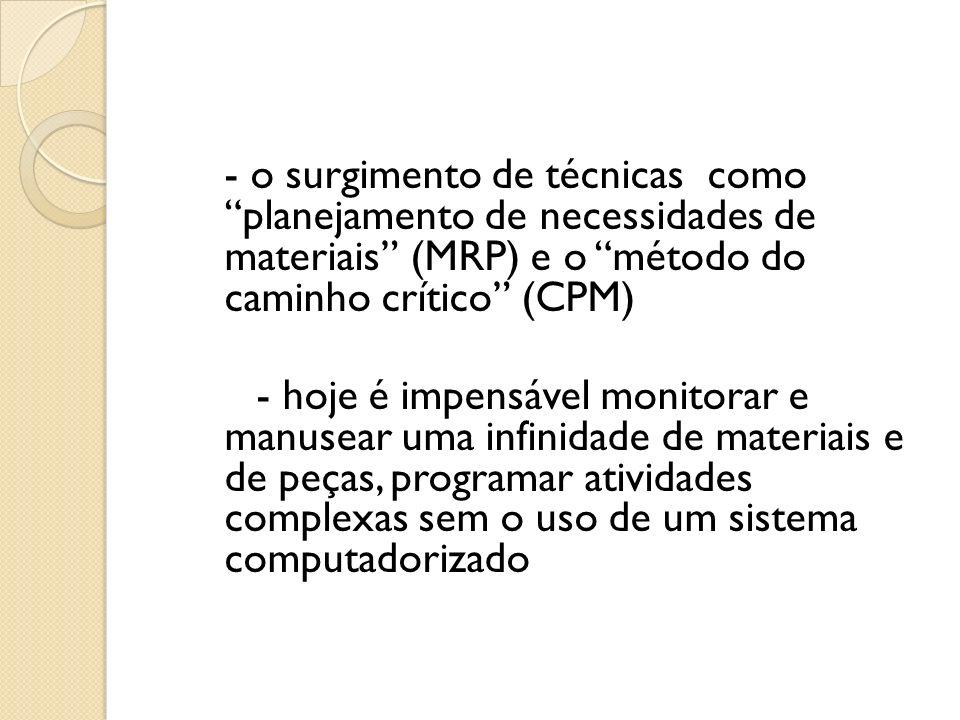 - o surgimento de técnicas como planejamento de necessidades de materiais (MRP) e o método do caminho crítico (CPM) - hoje é impensável monitorar e ma