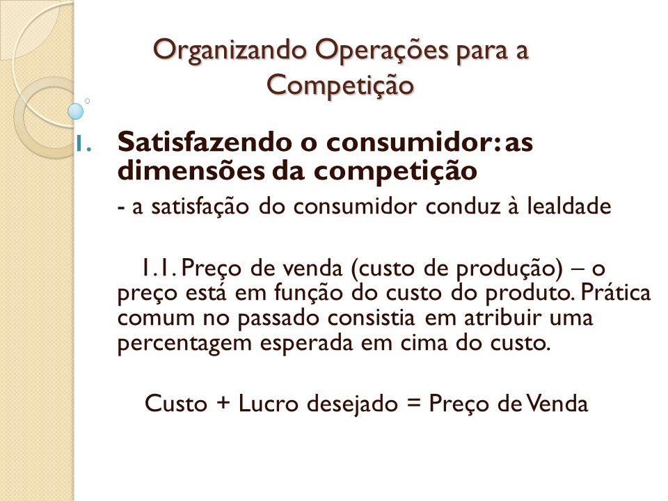 Organizando Operações para a Competição 1. Satisfazendo o consumidor: as dimensões da competição - a satisfação do consumidor conduz à lealdade 1.1. P