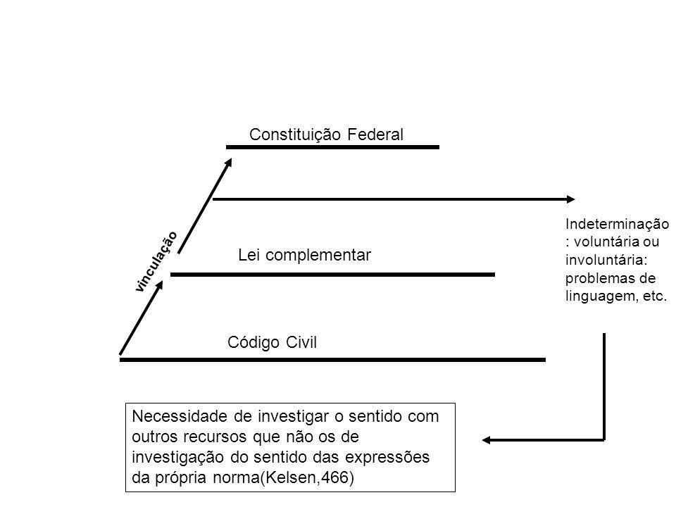 Código Civil Lei complementar Constituição Federal vinculação Indeterminação : voluntária ou involuntária: problemas de linguagem, etc. Necessidade de