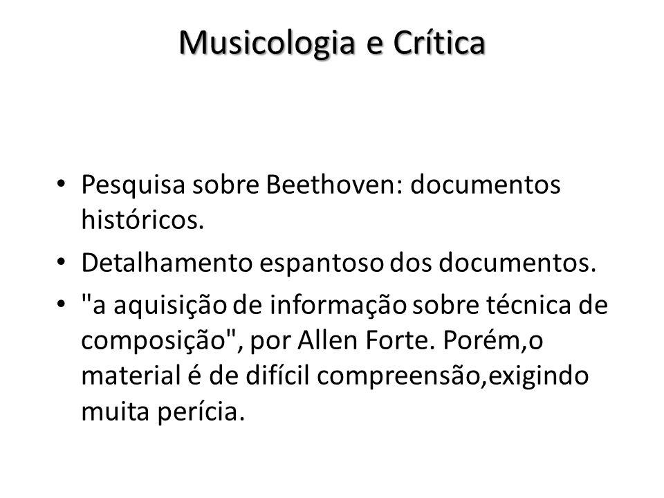 Musicologia e Crítica Pesquisa sobre Beethoven: documentos históricos. Detalhamento espantoso dos documentos.