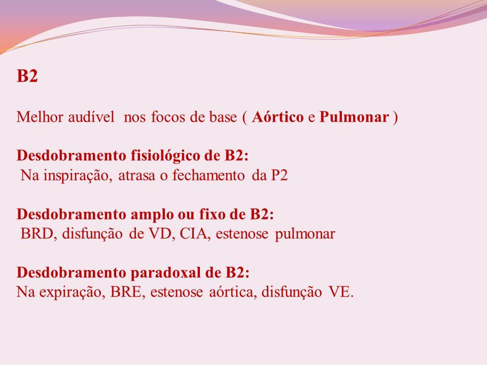 Hiperfonese de B2: Síndromes hiperdinâmicas, HAS, dilatação da aorta ascendente / artéria pulmonar, HAP A2: é melhor audível no foco aórtico P2: é melhor audível no foco pulmonar Hipofonese de B2: DPOC, derrame pericárdico, estenose aórtica, hipotensão arterial, estenose pulmonar.