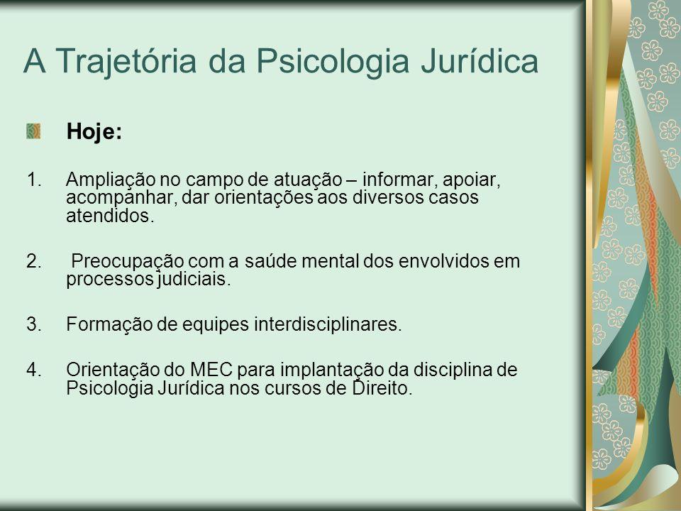 A Trajetória da Psicologia Jurídica Hoje: 1.Ampliação no campo de atuação – informar, apoiar, acompanhar, dar orientações aos diversos casos atendidos