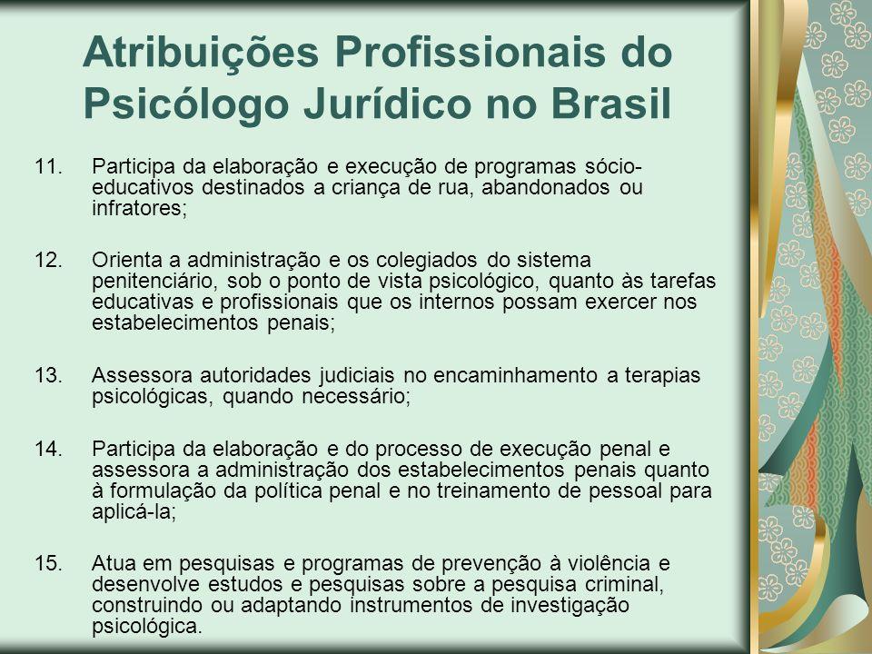 Atribuições Profissionais do Psicólogo Jurídico no Brasil 11.Participa da elaboração e execução de programas sócio- educativos destinados a criança de