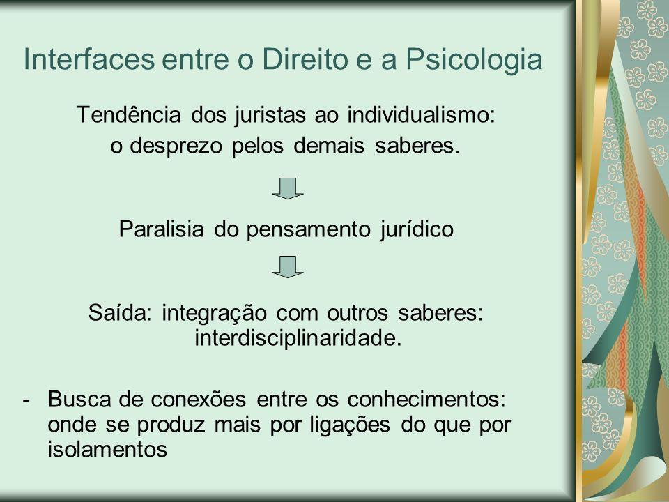 Interfaces entre o Direito e a Psicologia Tendência dos juristas ao individualismo: o desprezo pelos demais saberes. Paralisia do pensamento jurídico