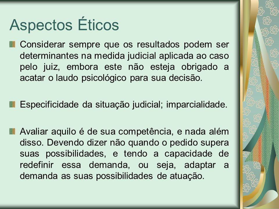 Aspectos Éticos Considerar sempre que os resultados podem ser determinantes na medida judicial aplicada ao caso pelo juiz, embora este não esteja obri