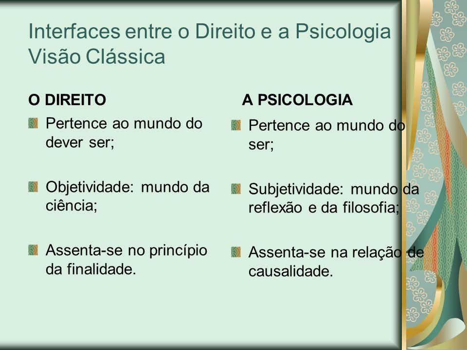 Interfaces entre o Direito e a Psicologia Visão Clássica O DIREITO Pertence ao mundo do dever ser; Objetividade: mundo da ciência; Assenta-se no princ