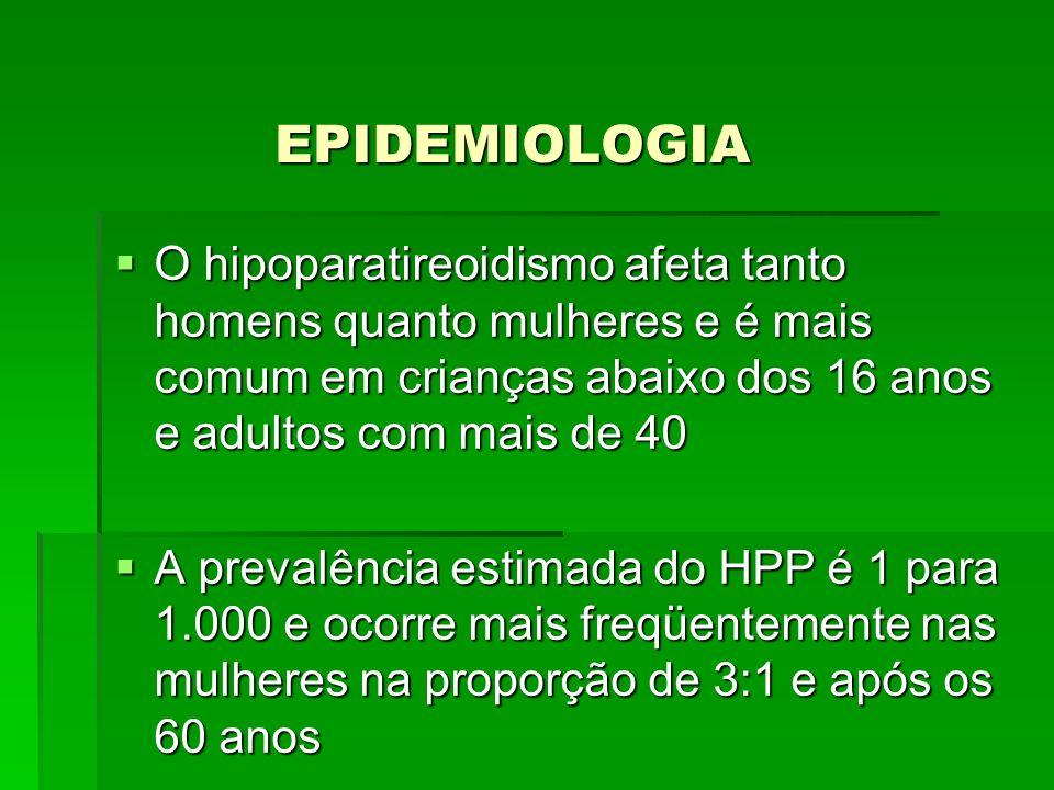 EPIDEMIOLOGIA O hipoparatireoidismo afeta tanto homens quanto mulheres e é mais comum em crianças abaixo dos 16 anos e adultos com mais de 40 O hipopa