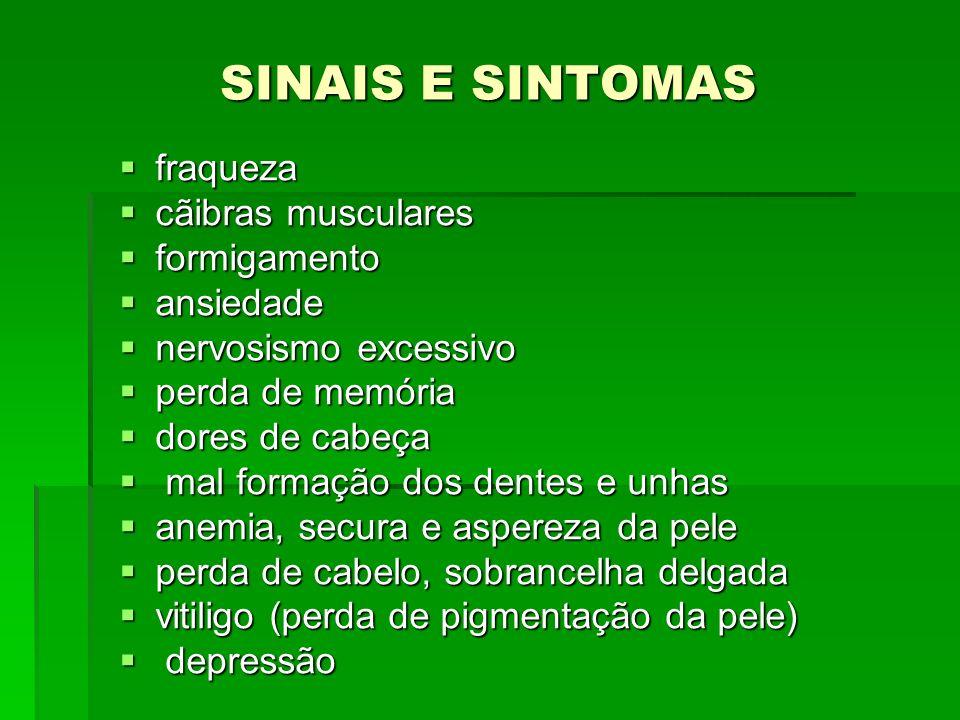 SINAIS E SINTOMAS fraqueza fraqueza cãibras musculares cãibras musculares formigamento formigamento ansiedade ansiedade nervosismo excessivo nervosism
