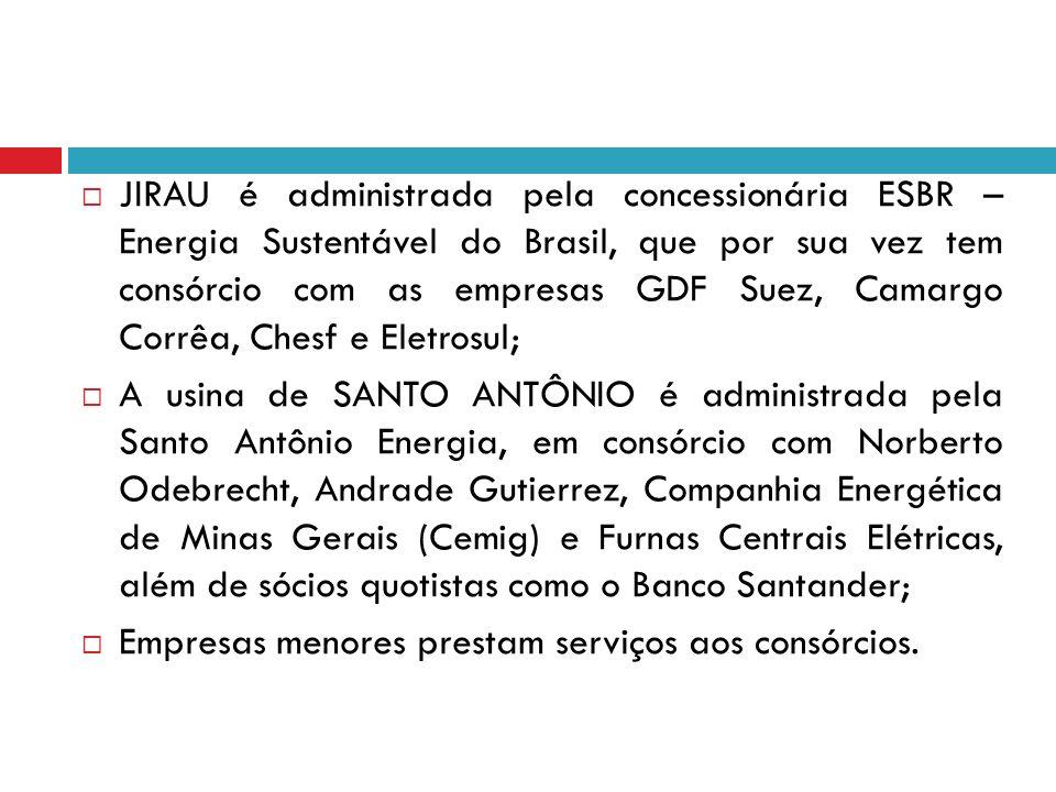 JIRAU é administrada pela concessionária ESBR – Energia Sustentável do Brasil, que por sua vez tem consórcio com as empresas GDF Suez, Camargo Corrêa,