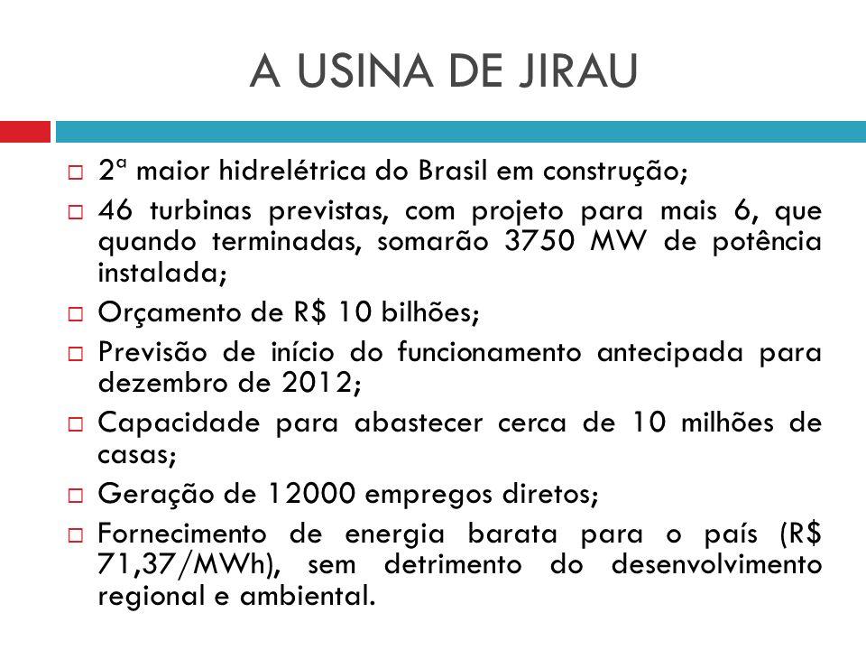 A USINA DE JIRAU 2ª maior hidrelétrica do Brasil em construção; 46 turbinas previstas, com projeto para mais 6, que quando terminadas, somarão 3750 MW