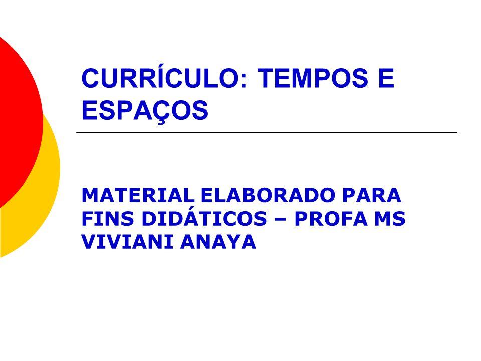 CURRÍCULO: TEMPOS E ESPAÇOS MATERIAL ELABORADO PARA FINS DIDÁTICOS – PROFA MS VIVIANI ANAYA