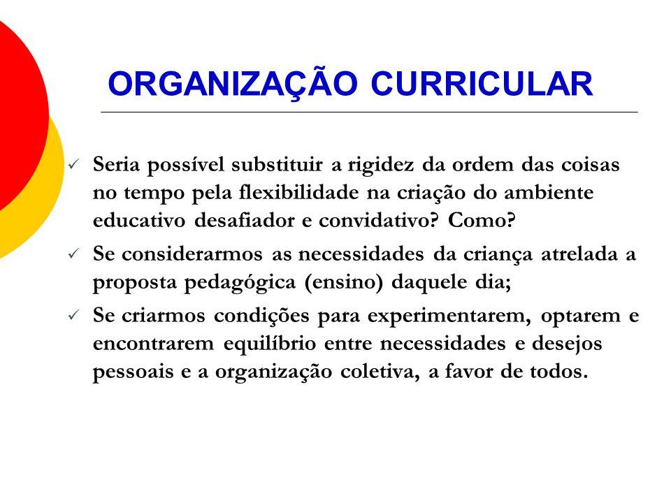 ORGANIZAÇÃO CURRICULAR Seria possível substituir a rigidez da ordem das coisas no tempo pela flexibilidade na criação do ambiente educativo desafiador