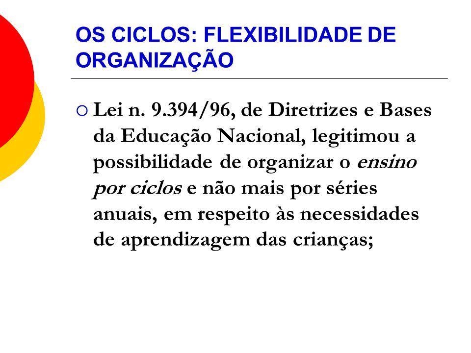 OS CICLOS: FLEXIBILIDADE DE ORGANIZAÇÃO Lei n. 9.394/96, de Diretrizes e Bases da Educação Nacional, legitimou a possibilidade de organizar o ensino p