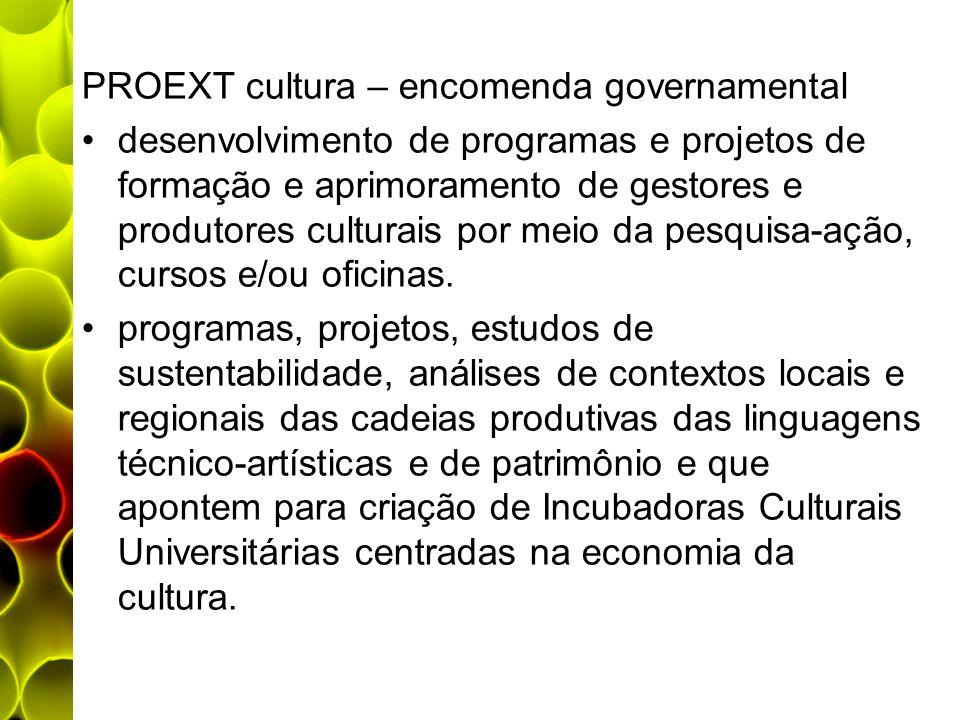 PROEXT cultura – encomenda governamental desenvolvimento de programas e projetos de formação e aprimoramento de gestores e produtores culturais por me