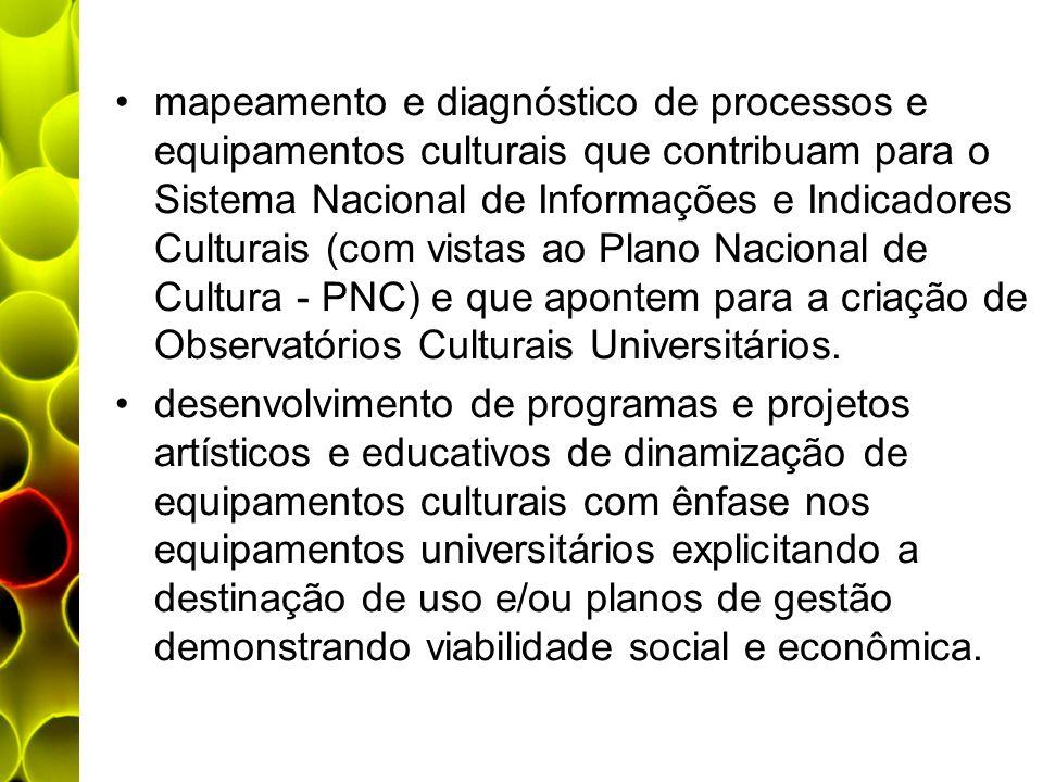mapeamento e diagnóstico de processos e equipamentos culturais que contribuam para o Sistema Nacional de Informações e Indicadores Culturais (com vist
