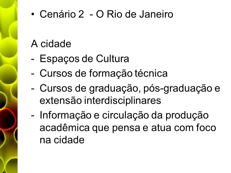 Cenário 2 - O Rio de Janeiro A cidade -Espaços de Cultura -Cursos de formação técnica -Cursos de graduação, pós-graduação e extensão interdisciplinare