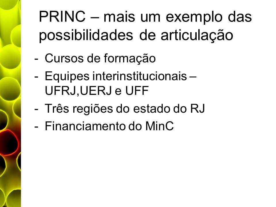 PRINC – mais um exemplo das possibilidades de articulação -Cursos de formação -Equipes interinstitucionais – UFRJ,UERJ e UFF -Três regiões do estado d