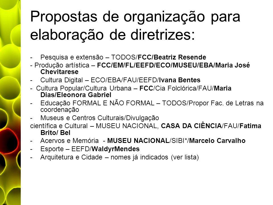 Propostas de organização para elaboração de diretrizes: -Pesquisa e extensão – TODOS/FCC/Beatriz Resende - Produção artística – FCC/EM/FL/EEFD/ECO/MUS
