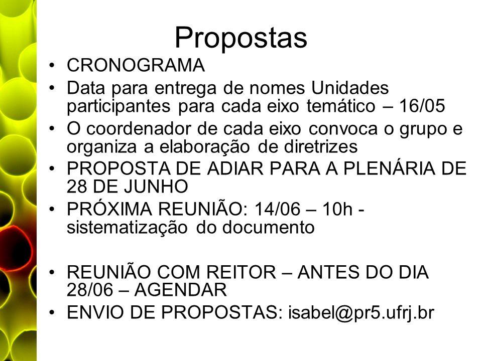 Propostas CRONOGRAMA Data para entrega de nomes Unidades participantes para cada eixo temático – 16/05 O coordenador de cada eixo convoca o grupo e or