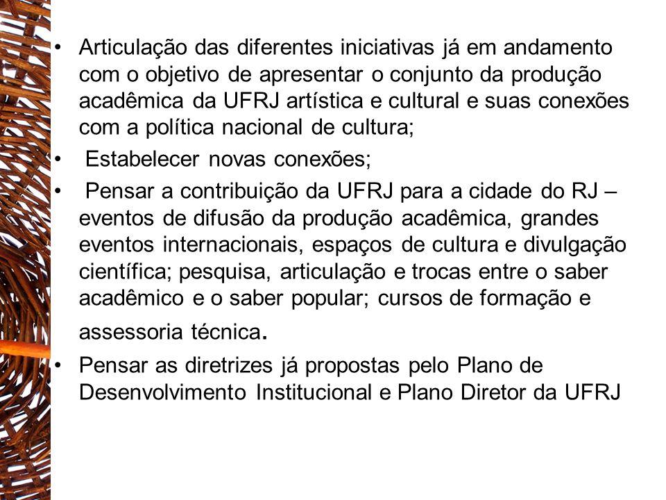 ALGUMAS INICIATIVAS EM ANDAMENTO: -PROCULT UFRJ – grupos artísticos -MUSEUS E CENTROS E CIÊNCIA/Cidade da Cultura, Cidade do Conhecimento/PD 2020 -PONTÃO DE CULTURA ECO -PROGRAMA DE CULTURA POPULAR (FCC E EEFD) - UNIVERSIDADE DAS QUEBRADAS