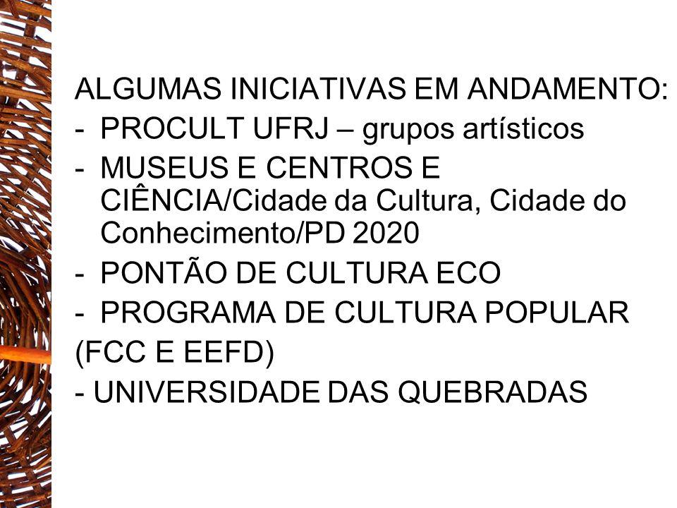 ALGUMAS INICIATIVAS EM ANDAMENTO: -PROCULT UFRJ – grupos artísticos -MUSEUS E CENTROS E CIÊNCIA/Cidade da Cultura, Cidade do Conhecimento/PD 2020 -PON