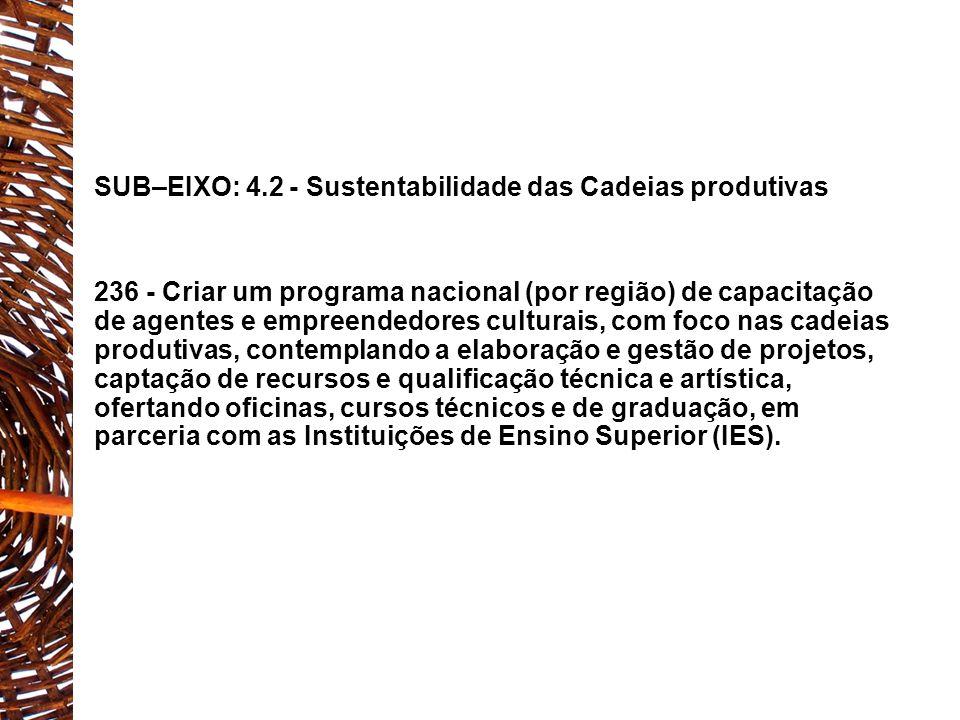 EIXO 4: CULTURA E ECONOMIA CRIATIVA SUB–EIXO: 4.3 - Geração de Trabalho e Renda 252 - Investir na profissionalização dos trabalhadores da cultura, através da ampliação dos cursos de nível superior, técnicos e profissionalizantes