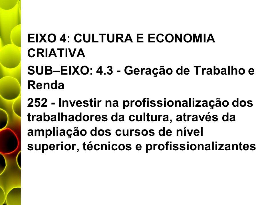 EIXO 4: CULTURA E ECONOMIA CRIATIVA SUB–EIXO: 4.3 - Geração de Trabalho e Renda 252 - Investir na profissionalização dos trabalhadores da cultura, atr