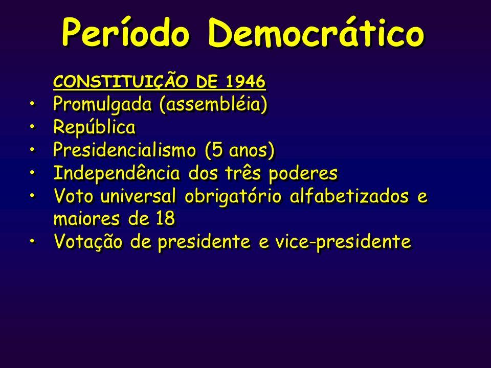 Período Democrático CONSTITUIÇÃO DE 1946 Promulgada (assembléia) República Presidencialismo (5 anos) Independência dos três poderes Voto universal obr