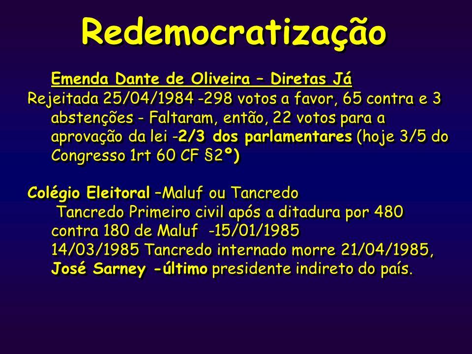 Redemocratização Emenda Dante de Oliveira – Diretas Já Rejeitada 25/04/1984 -298 votos a favor, 65 contra e 3 abstenções - Faltaram, então, 22 votos p