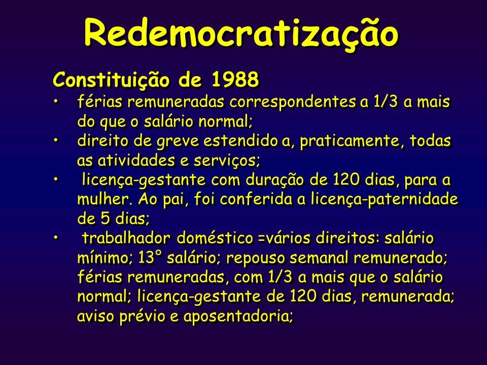 Redemocratização Constituição de 1988 férias remuneradas correspondentes a 1/3 a mais do que o salário normal; direito de greve estendido a, praticame