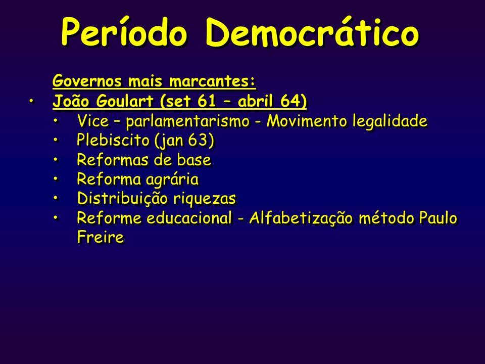 Período Democrático Governos mais marcantes: João Goulart (set 61 – abril 64) Vice – parlamentarismo - Movimento legalidade Plebiscito (jan 63) Reform