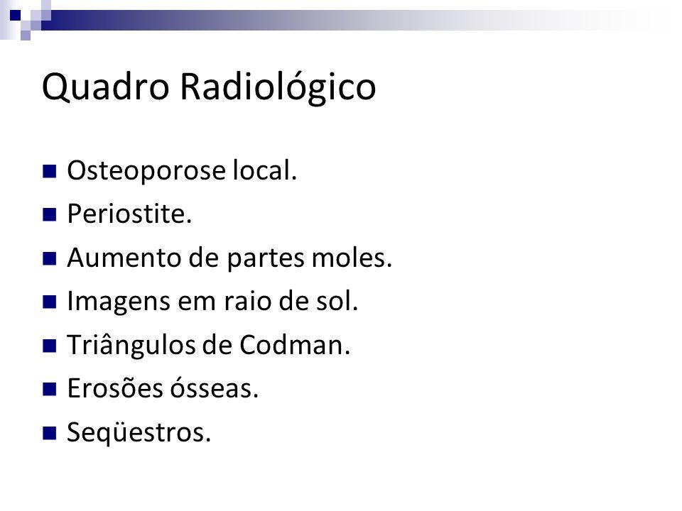 Quadro Radiológico Osteoporose local. Periostite. Aumento de partes moles. Imagens em raio de sol. Triângulos de Codman. Erosões ósseas. Seqüestros.