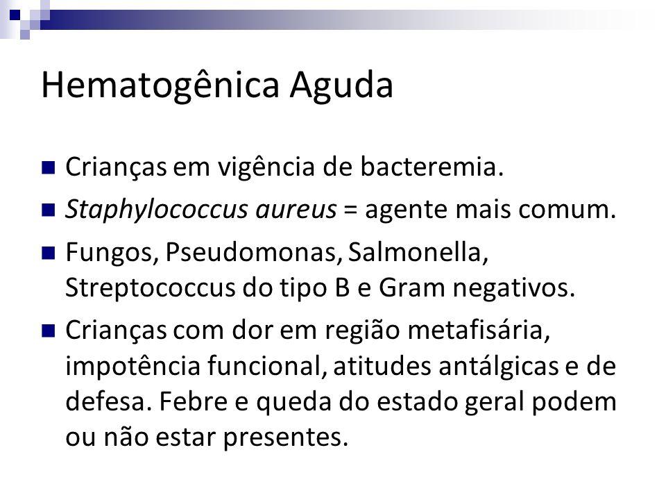 Hematogênica Aguda Crianças em vigência de bacteremia. Staphylococcus aureus = agente mais comum. Fungos, Pseudomonas, Salmonella, Streptococcus do ti