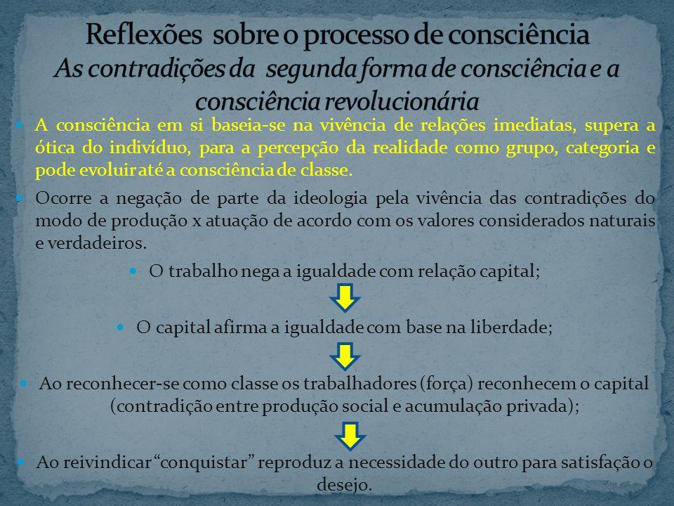 A consciência em si baseia-se na vivência de relações imediatas, supera a ótica do indivíduo, para a percepção da realidade como grupo, categoria e pode evoluir até a consciência de classe.