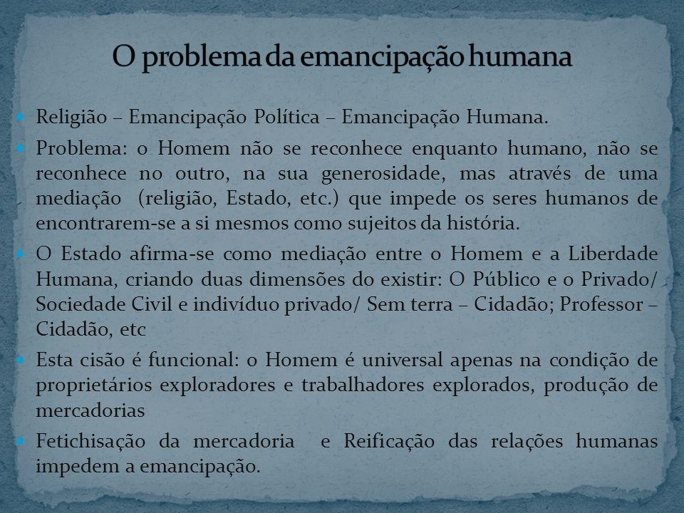 Religião – Emancipação Política – Emancipação Humana. Problema: o Homem não se reconhece enquanto humano, não se reconhece no outro, na sua generosida