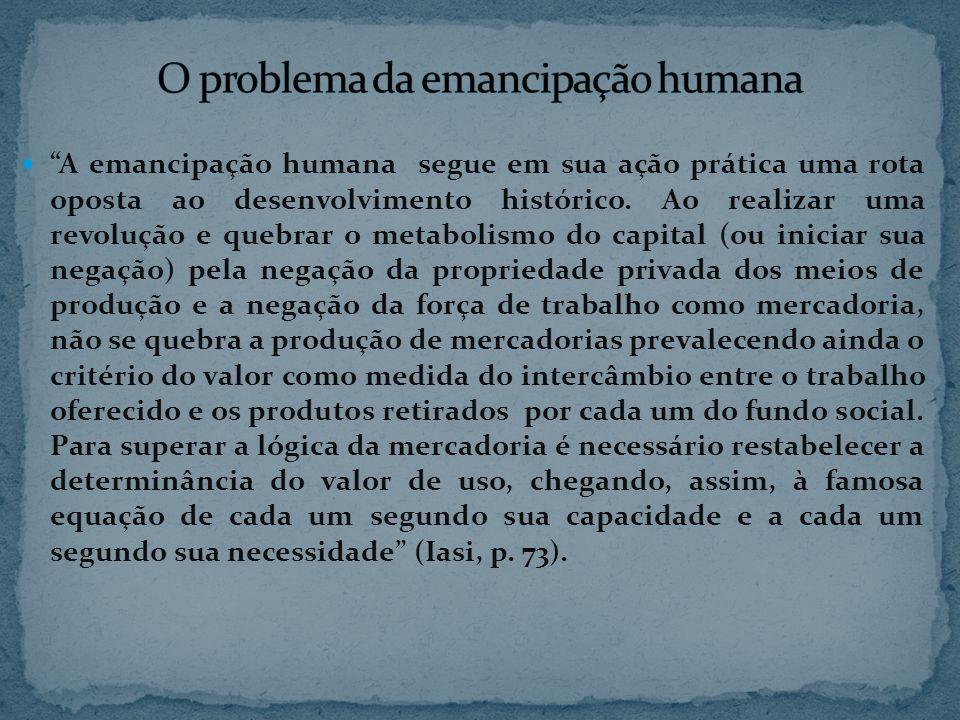 A emancipação humana segue em sua ação prática uma rota oposta ao desenvolvimento histórico. Ao realizar uma revolução e quebrar o metabolismo do capi
