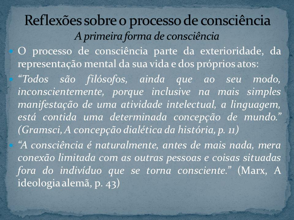 O processo de consciência parte da exterioridade, da representação mental da sua vida e dos próprios atos: Todos são filósofos, ainda que ao seu modo,