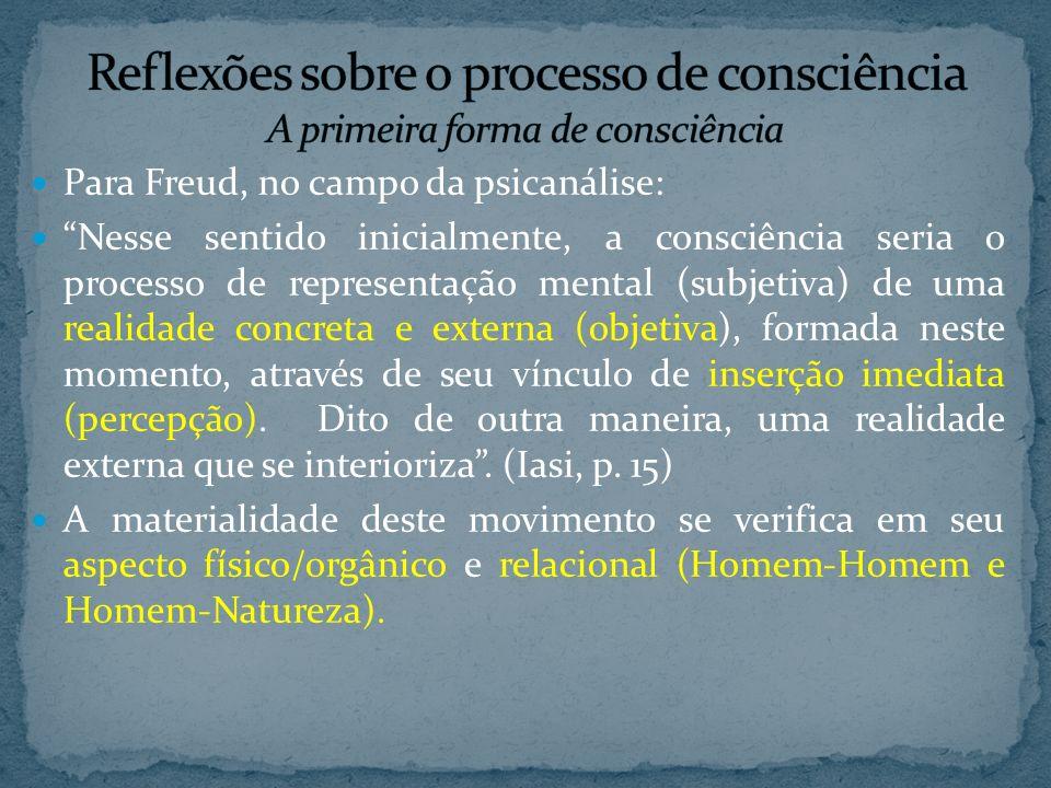 Para Freud, no campo da psicanálise: Nesse sentido inicialmente, a consciência seria o processo de representação mental (subjetiva) de uma realidade concreta e externa (objetiva), formada neste momento, através de seu vínculo de inserção imediata (percepção).