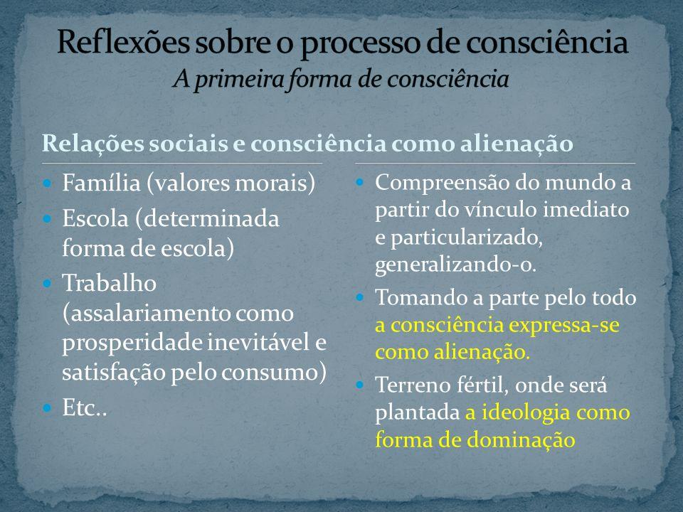 Família (valores morais) Escola (determinada forma de escola) Trabalho (assalariamento como prosperidade inevitável e satisfação pelo consumo) Etc.. C