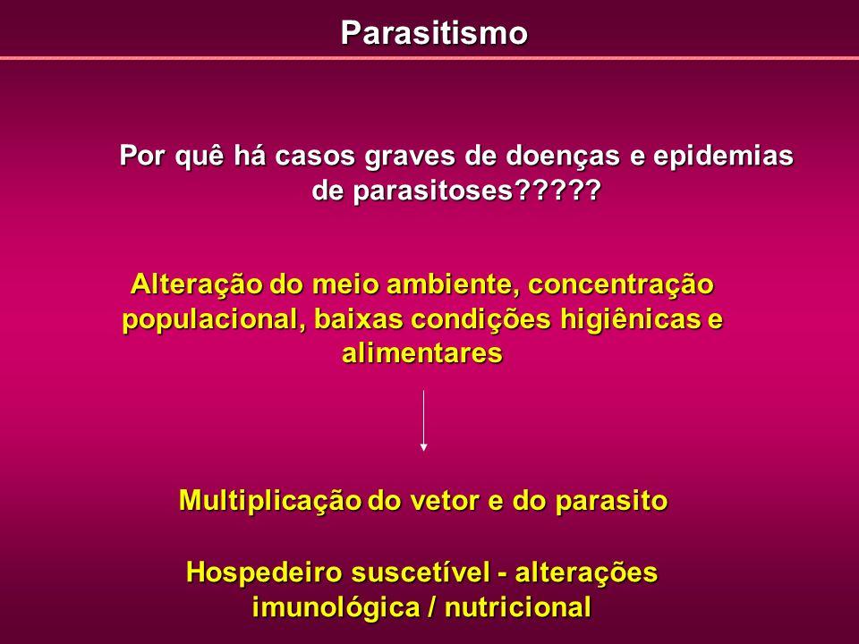 Por quê há casos graves de doenças e epidemias de parasitoses????? Alteração do meio ambiente, concentração populacional, baixas condições higiênicas