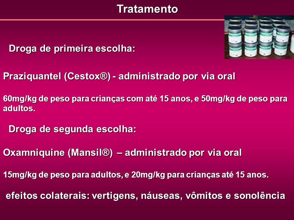 Tratamento Praziquantel (Cestox®)- administrado por via oral Praziquantel (Cestox®) - administrado por via oral 60mg/kg de peso para crianças com até
