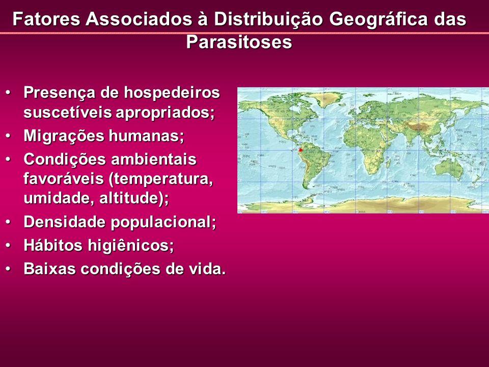 Fatores Associados à Distribuição Geográfica das Parasitoses Presença de hospedeiros suscetíveis apropriados;Presença de hospedeiros suscetíveis aprop