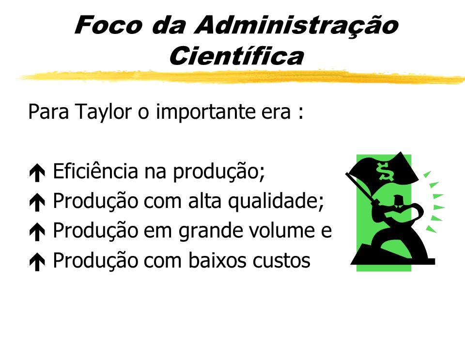 Foco da Administração Científica Para Taylor o importante era : Eficiência na produção; Produção com alta qualidade; Produção em grande volume e Produ