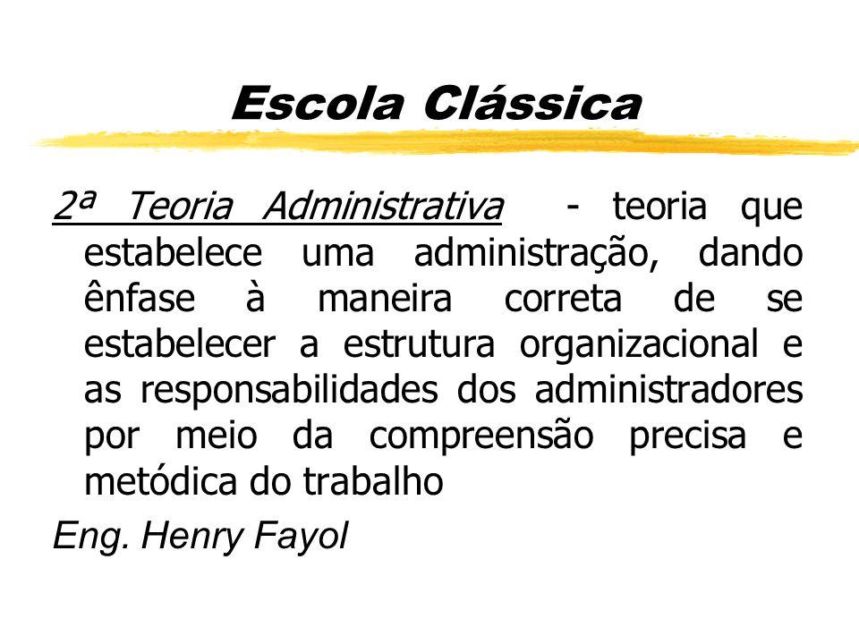 2ª Teoria Administrativa - teoria que estabelece uma administração, dando ênfase à maneira correta de se estabelecer a estrutura organizacional e as r