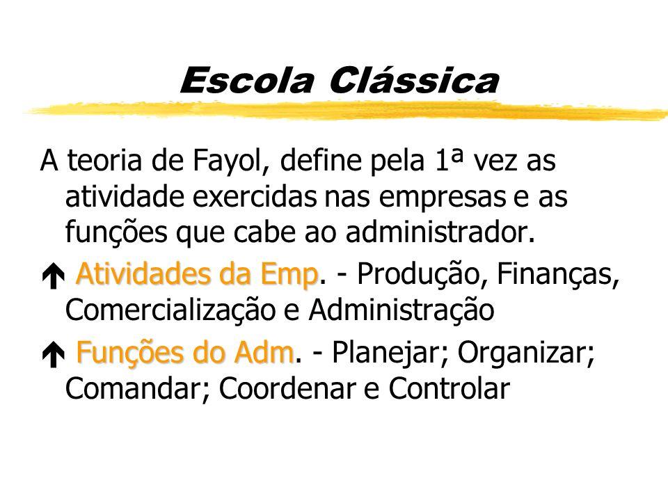 Escola Clássica A teoria de Fayol, define pela 1ª vez as atividade exercidas nas empresas e as funções que cabe ao administrador. Atividades da Emp At