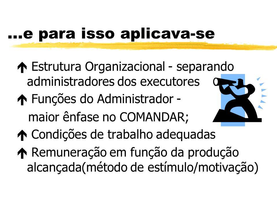 ...e para isso aplicava-se Estrutura Organizacional - separando administradores dos executores Funções do Administrador - maior ênfase no COMANDAR; Co