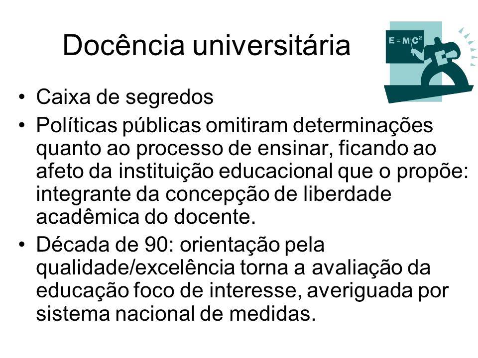 Docência universitária Caixa de segredos Políticas públicas omitiram determinações quanto ao processo de ensinar, ficando ao afeto da instituição educ