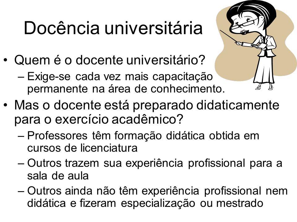 Docência universitária Quem é o docente universitário? –Exige-se cada vez mais capacitação permanente na área de conhecimento. Mas o docente está prep